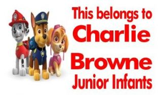 Personalised Rectangle Paw Patrol School Book Stickers
